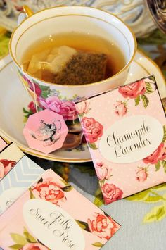 Relaxing teas: Chamomile and Lavender :) i would also add lemon balm