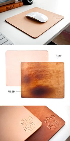 Beautify your desk with this natural leather mousepad. It provides a cushion for your hand and a smooth surface for your mouse and will slowly darken over time and take on a unique wear pattern. http://shop.ugmonk.com/products/premium-leather-mousepad-natural