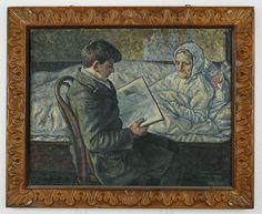 """Henryk Kujawski - """"Chłopiec czytający książkę"""", 1924 r. Olej, płótno, 88×71 cm."""