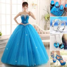 How about this blue ball gown? #PromDress #PartyDress #Ring #Earrings #Heels #Fashion #NewFashion