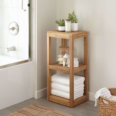 Both attractive and practical, the Three Tier Teak Wood Towel Shelf is perfect for organizing toiletries and storing bath towels. This teak bathroom shelf can be stained, if desired or left natural. Teak Bathroom, Bathroom Towel Storage, Towel Shelf, Bathroom Furniture, Diy Furniture, Wooden Bathroom Shelves, Bathroom Ideas, Bathroom Canvas, Bathroom Rack