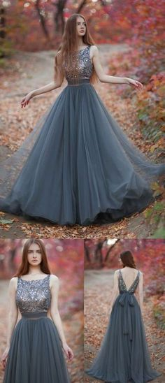Grey Long Prom Dress, V Back Tulle Party Dress, Round Neck Beading Evening Dress by MeetBeauty, $148.19 USD
