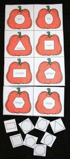 Pumpkin Matching Shape Game and other great fall printables