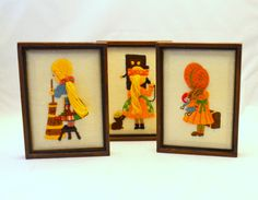 Set of 3 Vintage Crewel Pictures, Little Girls with 3D Ponytails, Orange Green and Yellow, 1970s by UpswingVintage on Etsy