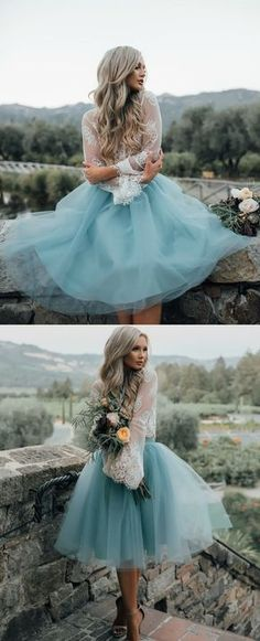 Short dusty blue wedding party gowns, simple fashion bridesmaid dresses with long sleeves for fall, lace party dresses.
