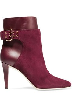 Heel measures approximately 85mm/ 3.5 inches Burgundy suede and leather Pull on Designer color: Bordeaux Made in Italy
