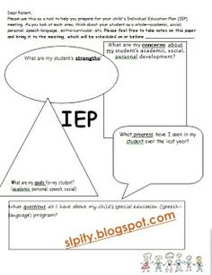 SLP-ity!: IEP Meeting Forms. Pinned by SOS Inc. Resources. Follow all our boards at pinterest.com/sostherapy for therapy resources.