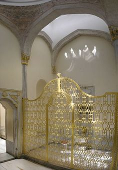 The gold gilded cage door of the private bath of the Valide Sultan (Queen Mother), in the Topkapi Palace, Istanbul. Only she would hold the key and lock herself up during her bath so that nobody could kill her.