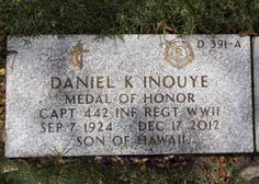 "Daniel Ken ""Dan"" Inouye. A senator since 1963, Inouye was the most senior U.S. senator at the time of his death. He is the second-longest serving U.S. Senator in history after Robert Byrd. He was a Medal of Honor recipient, a recipient (posthumously) of the Presidential Medal of Freedom, and a soldier in the famed 442nd during WWII."