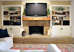 Fireplace Christmas With Tv fireplace kitchen diy projects.Country Fireplace Paint Colors fireplace built ins dark.Fireplace Wall With Windows. Fireplace Remodel, Fireplace Built Ins, New Homes, Brick Fireplace Makeover, Farmhouse Fireplace, Brick, Wooden Fireplace, Fireplace Decor, Fireplace