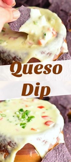White Queso Dip is smooth flavorful made with real cheese and vegetables. Its a spicy cheesy dip made with two kinds of cheese jalapenos bell peppers and green onions. Best Appetizer Recipes, Fun Easy Recipes, Appetizer Dips, Easy Snacks, Appetizers For Party, Snack Recipes, Cooking Recipes, Tailgating Recipes, Party Dips