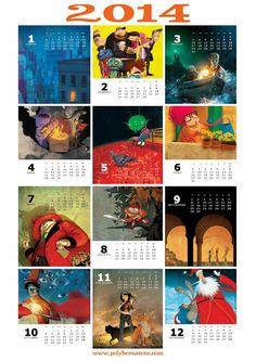 à imprimer Calendário de 2014 ilustrado por Poly Bernatene / 2014 illustrated calendar