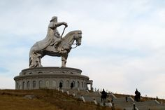 Statue of Genghis Khan erected in Ulan Bator, the capital city of Mongolia Monuments, Statues, Equestrian Statue, Genghis Khan, Archaeological Discoveries, Bizarre, Mongolia, Capital City, Historical Sites