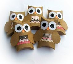 Pretty in Pink Kraft Owl Pillow Treat Boxes Set of 12