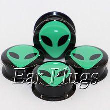 1 para zielone alien słuchawką wskaźniki tunel akrylowa śruba tunel body piercing biżuteria PAP0494(China)
