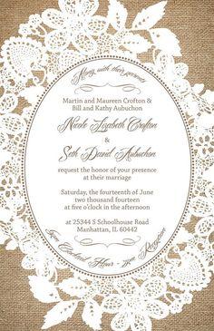 Custom Listing for croftni - Burlap and Lace Wedding Invitations