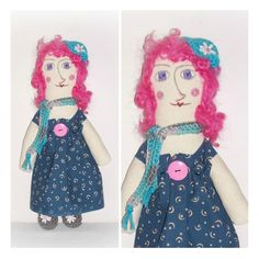 Pink Curly Hair Hippie Rag Doll Handmade Crochet Fabric All Stitched Up Raggedy Whimsy Boho Art Doll Hand Painted Folk Art Doll by ICreateAndCollect on Etsy