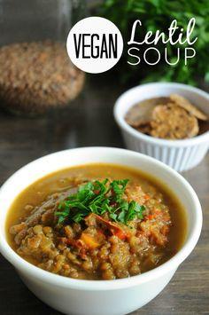 Lentil Soup with Cumin and Coriander #MeatlessMonday #soup #vegan