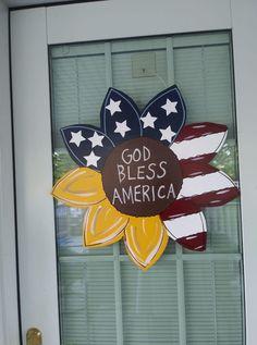 July Crafts, Summer Crafts, Crafts For Kids, Americana Decorations, Holiday Decorations, Sunflower Door Hanger, Summer Porch Decor, Wooden Cutouts, Wooden Door Hangers
