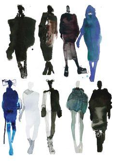 Fashion Sketchbook - watercolour fashion illustrations; fashion sketches; line up; fashion portfolio // Mia Jadrna