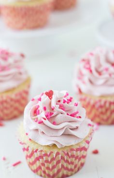 These are Vanilla Cupcakes with Strawberry Mascarpone Frosting are fluffy, moist and topped with a sweet creamy mascarpone frosting.