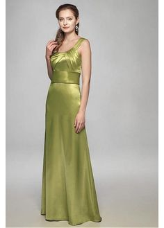 One shoulder charmeuse gown with asymmetrical pleats on bodice. Wide band at natural waist introduces the plaing skirt with zipper back.