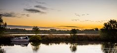 Geese fly off into the rising sun over the river Yare in Norfolk Taken by Joe Lenton as part of his collection Norfolk Broads, Sunset Images, Over The River, Rising Sun, Yesterday And Today, Us Images, The Good Place, Art Photography, Sunrise