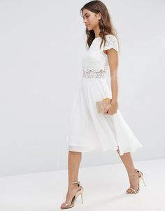 bridal shower? Image 4 of ASOS Crop Top Lace Midi Dress