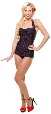 Vintage Swimsuit 50's Style Pin Up BLACK with Red Polka Dot Bathing Suit - 6 to 18.