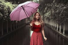 Anna Rakhvalova YOUNG WOMAN WITH UMBRELLA ON RAINY PATH Women Umbrellas Parasols, Young Women, Anna, Woman, Fashion, Moda, Fashion Styles, Women, Fashion Illustrations