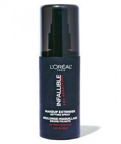 Sealing the deal | For an extra insurance policy, spritz on a setting spray, like L'Oréal Paris Infallible Pro-Spray and Set Makeup Extender ($17, drugstore.com). This superfine mist contains oil-blotting polymers to lock everything in place.