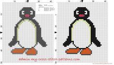 Pingu small cross stitch pattern 32x40 stitches