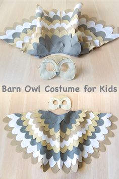 Barn owl costume for kids. Barn owl mask and wings. Bird costume for children to dress up as a barn owl. Barn owl costume for toddlers and older children. Owl Costume Kids, Bird Costume, Toddler Costumes, Carnival Costumes, Diy Costumes, Halloween Carnival, Halloween Costumes, Kids Barn, Owl Mask