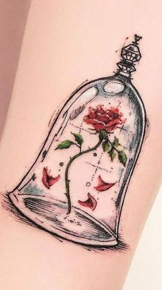 Feed Your Ink Addiction With 50 Of The Most Beautiful Rose Tattoo Designs For Men And Women - KickAss Things - beauty & the beast rose tattoo © Robson Carvalho - Cute Disney Tattoos, Disney Sleeve Tattoos, Tattoo Disney, Best Tattoos For Women, Trendy Tattoos, Tattoos For Guys, Tattoo Women, Feather Tattoos, Rose Tattoos