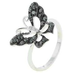 0.52 Carat Black Diamond 14K White Gold Women Rings 2.51g: Ring Size: 7 (Sizable)