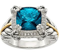 Sterling Silver & 14K Gold London Blue Topaz &Diamond Ring