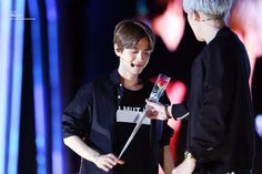 Chanyeol giving baekhyun a rose c: