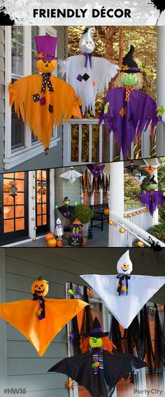 These friendly ghosts just want to hangout for Halloween! Choose between smiling ghosts and adorable witches with 3 to 5 feet long hanging decorations. Welcome your trick or treaters with friendly faces and bring smiles to everyone!