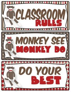 Use this rules chart to accompany your sock monkey themed classroom. Toddler Classroom, Classroom Rules, Classroom Themes, Classroom Organization, Classroom Management, Monkey Bulletin Boards, Back To School Bulletin Boards, Class Decoration, Room Decorations