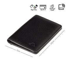 Black Bifold Leather Card Wallet For Men - RFID Smart Wallet - Handmade Compact Genuine Leather Wall Real Leather Wallet, Minimalist Leather Wallet, Leather Card Case, Leather Bifold Wallet, Key Wallet, Pocket Wallet, Credit Card Wallet, Leather Business Card Holder, Hand Sewn