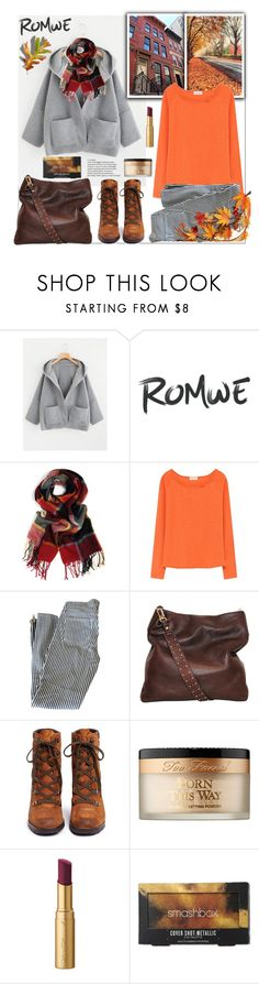 """""""Romwe.Drop Shoulder Dual Pocket Hooded Coat"""" by natalyapril1976 ❤ liked on Polyvore featuring American Vintage, Elizabeth and James, Sam Edelman, Too Faced Cosmetics and Smashbox"""