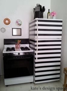 striped fridge, duct tape, black and white, rental kitchen gallery Interior, Rental Kitchen, White Fridges, Home Decor, Apartment Decor, Fridge Makeover, Hunted Interior, Interior Design Crafts, Shabby Chic Kitchen