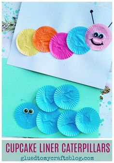 Turn cupcake liners into caterpillars!!! Find TONS of cupcake liner themed kid crafts on Glued To My Crafts