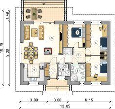 Proiect casa parter - Smart Home Concept Village House Design, Bungalow House Design, Village Houses, Simple House Plans, House Floor Plans, Small Mobile Homes, Wooden House Design, Architectural House Plans, Round House