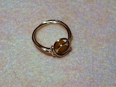 Wire yellow  jade ring by CreatedbyMonika on Etsy, £5.00