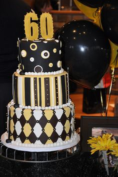 The colors for this one were brown, black, and yellow because we wanted a masculine but fun cake. Sometimes cakes with these types of designs are inherently feminine but the color scheme really made this one masculine. It was a big hit at the party. 50th Cake, 60th Birthday Cakes, 60 Birthday, Birthday Ideas, Beautiful Cakes, Amazing Cakes, Susie Cakes, Patterned Cake, Cakes For Men