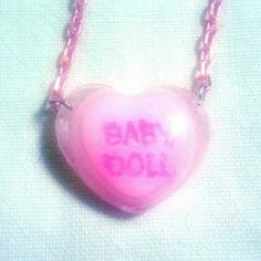 baby doll  necklace conversation hearts