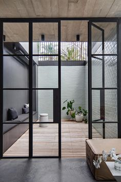 Steel frame Door Steel frame Door,Vensters/rame Jobs of Steel // Steel frame Door // L'Officina by Vincenzo Location: Sydney, Australia Related posts:Plan Modern Duplex House Plan with Symmetrical Units - Duplex house. Steel Frame Doors, Steel Frame House, Internal Courtyard, Small Courtyards, Narrow House, Courtyard House, Courtyard Gardens, Home With Courtyard, Modern Courtyard