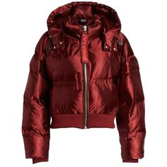 Women's Ivy Park Crop Hooded Puffer Jacket ($165) ❤ liked on Polyvore featuring outerwear, jackets, jacket's, russet, red puffy jacket, red cropped jacket, ivy park, red puffer jacket and red jacket