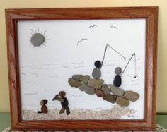Pebble and Glass Art Framed Original Picture by LakeshorePebbleArt
